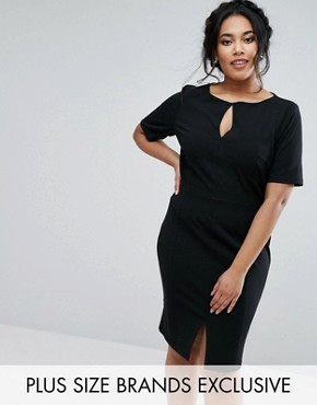 photo Short Sleeve Pencil Dress with Cut Out Detail by Paper Dolls Plus, color Black - Image 1