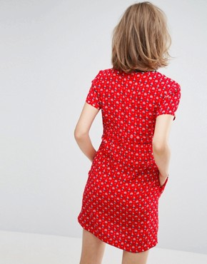 photo Tie Up Textured Tea Dress by Vanessa Bruno Athe, color Rouge - Image 2