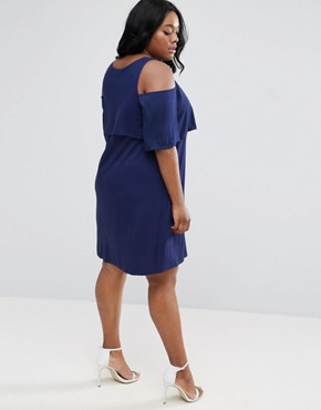 photo Skater Dress with Double Layer & Cold Shoulder by ASOS CURVE, color Blue - Image 2
