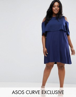 photo Skater Dress with Double Layer & Cold Shoulder by ASOS CURVE, color Blue - Image 1