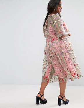 photo Embroidered Smock Longer Length Midi Dress by ASOS CURVE SALON, color  - Image 2