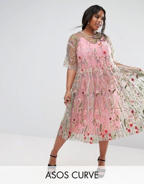 photo Embroidered Smock Longer Length Midi Dress by ASOS CURVE SALON, color  - Image 1