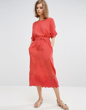 photo A Line Midi Dress with Detailing by Vanessa Bruno Athe, color Coral - Image 2