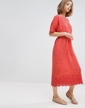 photo A Line Midi Dress with Detailing by Vanessa Bruno Athe, color Coral - Image 1
