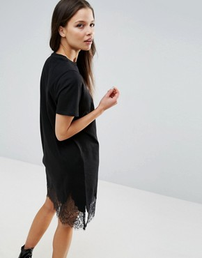 photo T-Shirt Dress with Lace Inserts by ASOS PETITE, color Black - Image 2