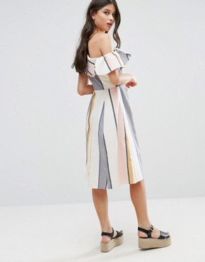 3313d376fa14 photo One Shoulder Ruffle Detail Sundress in Natural Fibre Stripe by ASOS  PETITE