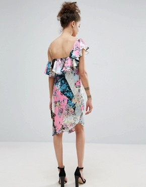 photo Ruffle Shoulder Mixed Print Floral Dress by ASOS PETITE, color  - Image 2