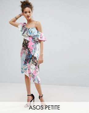 photo Ruffle Shoulder Mixed Print Floral Dress by ASOS PETITE, color  - Image 1