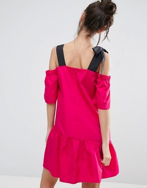 photo Pep Hem Cotton Cold Shoulder Dress by ASOS PETITE, color Fuschia Pink - Image 2