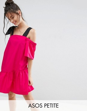 photo Pep Hem Cotton Cold Shoulder Dress by ASOS PETITE, color Fuschia Pink - Image 1