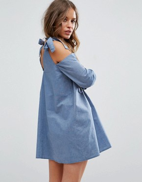 photo Cold Shoulder Swing Shift Dress with Bow Detail by ASOS PETITE, color Blue - Image 2