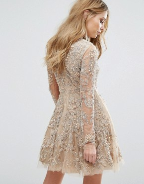 photo Skater Dress with Allover Embellishment by A Star Is Born, color Nude - Image 2
