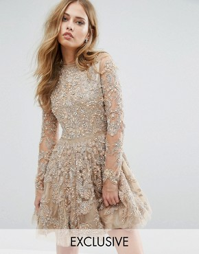 photo Skater Dress with Allover Embellishment by A Star Is Born, color Nude - Image 1