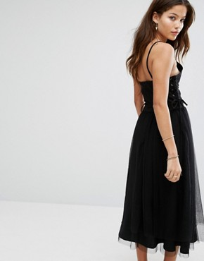 photo Side Lace Up Detail Tulle Dress by Moon River, color Black - Image 2