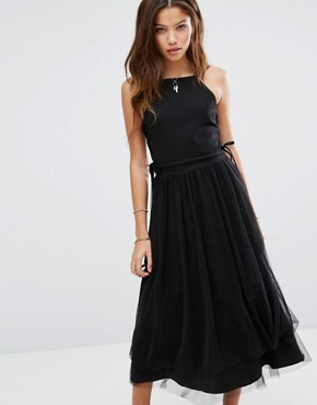 photo Side Lace Up Detail Tulle Dress by Moon River, color Black - Image 1