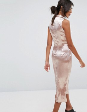 photo Midi Dress with Plunge Front and Choker Neck Detail by J.O.A, color Dusty Pink - Image 2