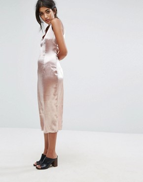 photo Midi Dress with Plunge Front and Choker Neck Detail by J.O.A, color Dusty Pink - Image 4