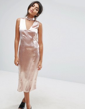 photo Midi Dress with Plunge Front and Choker Neck Detail by J.O.A, color Dusty Pink - Image 1