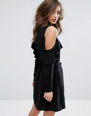 photo Cold Shoulder Ruffle Shirt Dress by Miss Selfridge, color Black - Image 2