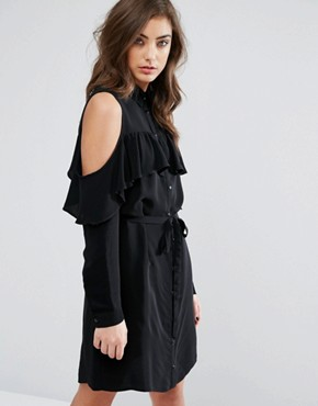 photo Cold Shoulder Ruffle Shirt Dress by Miss Selfridge, color Black - Image 1