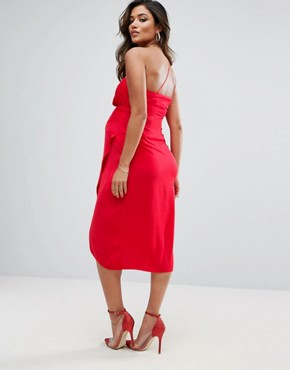 photo One Shoulder Drape Midi Dress by ASOS Maternity, color Red - Image 2