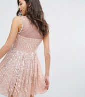 photo Premium Embellished Skater Dress by Miss Selfridge, color Nude - Image 2