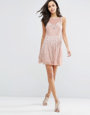 photo Premium Embellished Skater Dress by Miss Selfridge, color Nude - Image 4