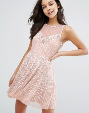 photo Premium Embellished Skater Dress by Miss Selfridge, color Nude - Image 1