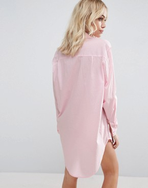 photo Throw On Oversized Beach Shirt Dress by ASOS, color Washed Pink - Image 2
