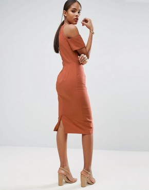 photo Pencil Dress in Natural Fibre by ASOS TALL, color Rust - Image 2