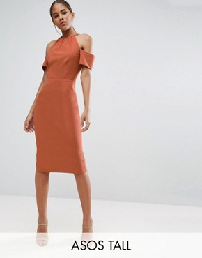 photo Pencil Dress in Natural Fibre by ASOS TALL, color Rust - Image 1