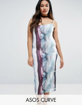 photo Bodycon Midi Dress in Abstract Print by ASOS CURVE, color  - Image 1