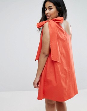photo Bow and Tie Detail Sun Dress by ASOS CURVE, color Red - Image 2