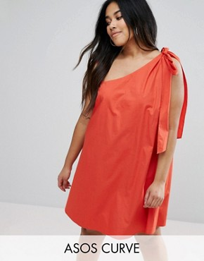 photo Bow and Tie Detail Sun Dress by ASOS CURVE, color Red - Image 1