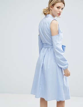 photo Longline Shirt Dress with Cold Shoulder by Lost Ink, color Light Blue - Image 2