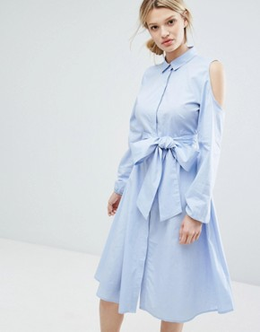 photo Longline Shirt Dress with Cold Shoulder by Lost Ink, color Light Blue - Image 1