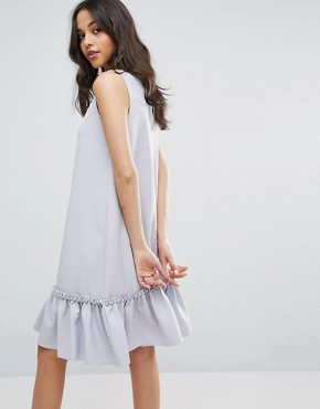 photo Shift Dress with Ruffle and Faux Pearl Hem by Lost Ink, color Light Purple - Image 2