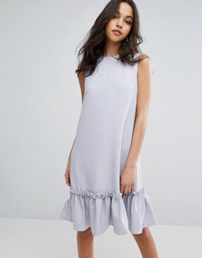 photo Shift Dress with Ruffle and Faux Pearl Hem by Lost Ink, color Light Purple - Image 1