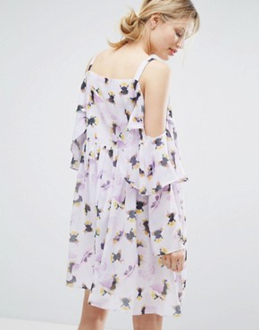 photo Frill Dress In Pansy Print by Lost Ink, color Lilac - Image 2
