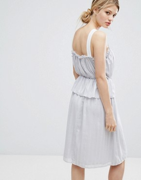 photo Ruffle Strappy Dress by Lost Ink, color Light Grey - Image 2