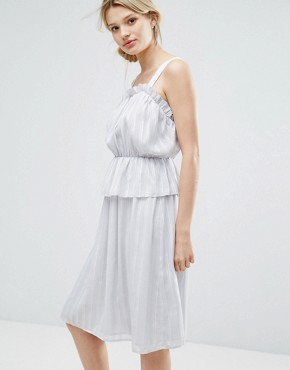 photo Ruffle Strappy Dress by Lost Ink, color Light Grey - Image 1