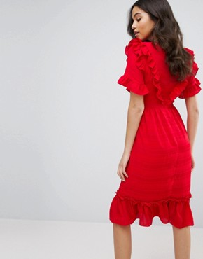 photo Ruffle Edge Dress by Lost Ink, color Red - Image 2