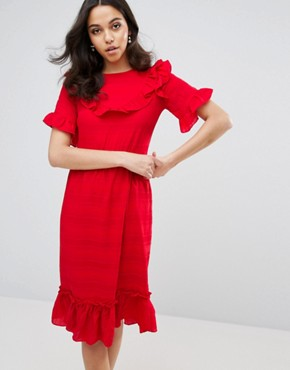 photo Ruffle Edge Dress by Lost Ink, color Red - Image 1