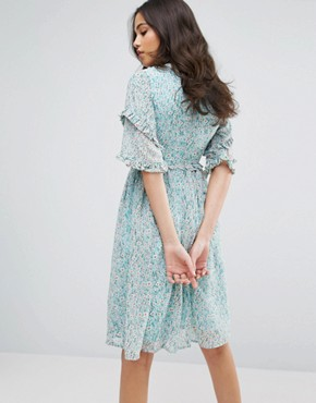 photo Double Frill Dress with Contrast Collar by Lost Ink, color Mint Green - Image 2