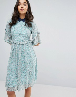 photo Double Frill Dress with Contrast Collar by Lost Ink, color Mint Green - Image 1