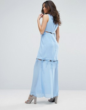 photo Maxi Dress with Tie Up Bow Details by Lost Ink, color Light Blue - Image 2