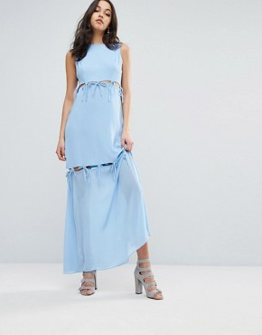photo Maxi Dress with Tie Up Bow Details by Lost Ink, color Light Blue - Image 1