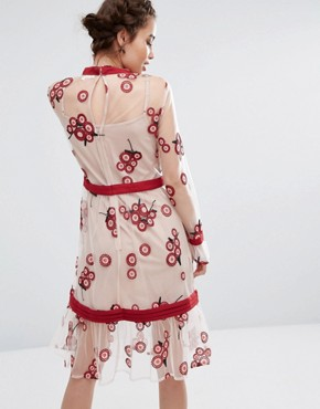 photo Floral Embroidered Dress by Endless Rose, color Red/White - Image 2