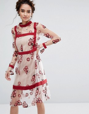 photo Floral Embroidered Dress by Endless Rose, color Red/White - Image 1