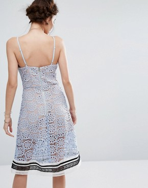 photo Contrast Lace Dress by Endless Rose, color Dusty Blue/Multi - Image 2